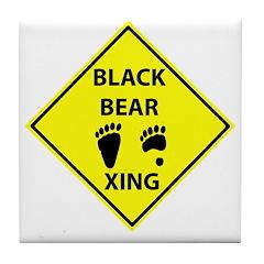 Black Bear Tracks Crossing Tile Coaster