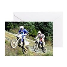 Two Dirt bikers Catching Air Greeting Card