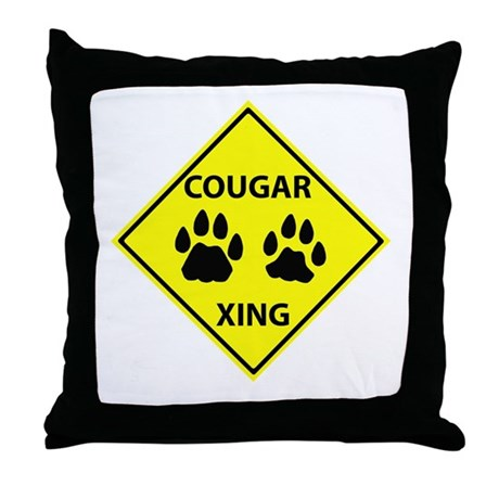 Cougar Mountain Lion Crossing Throw Pillow