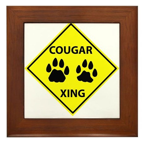 Cougar Mountain Lion Crossing Framed Tile