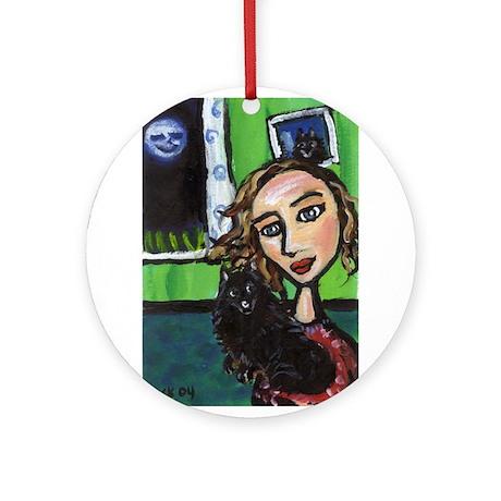SCHIPPERKE w fav lady Keepsake (Round)