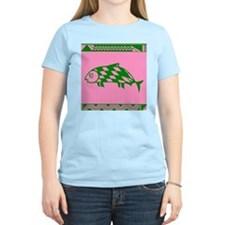 MIBRES FISH GREEN ON PINK T-Shirt