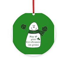 Green Christmas IRISH Snowman Ornament (Round)