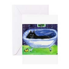 SCHIPPERKE bath Design Greeting Cards (Package of