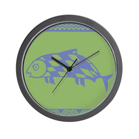 MIBRES FISH BLUE ON GREEN Wall Clock