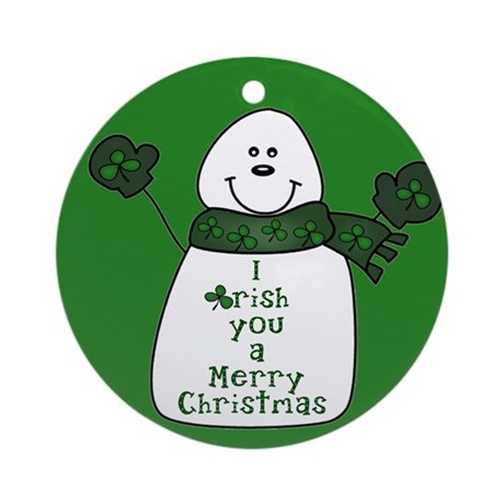 IRISH You A Merry Chrismas Snowman Ornament