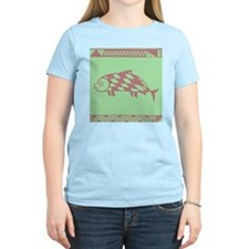 MIBRES FISH PINK ON GREEN T-Shirt