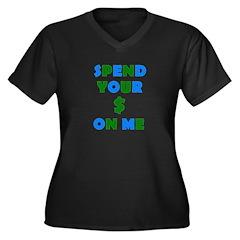 Spend your $ Women's Plus Size V-Neck Dark T-Shirt