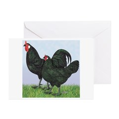 La Fleche Rooster and Hen Greeting Cards (Pk of 10