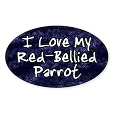 Funky Love Red Bellied Parrot Oval Decal