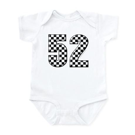 Checkered Number 52 Infant Bodysuit