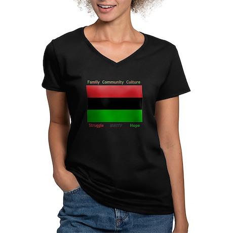 Bendera Kwanzaa Colors Women's V-Neck Dark T-Shirt