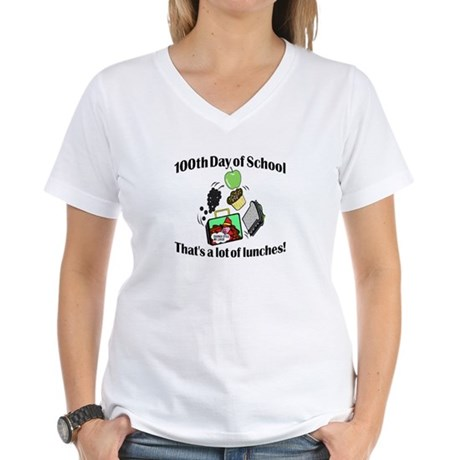 100th Day of School, Lunches Women's V-Neck T-Shir
