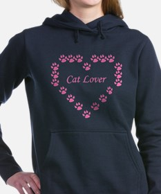 Funny Pink cat Women's Hooded Sweatshirt