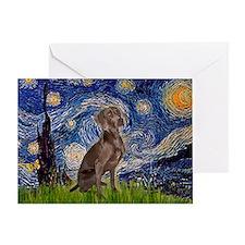 Starry / Weimaraner Greeting Card