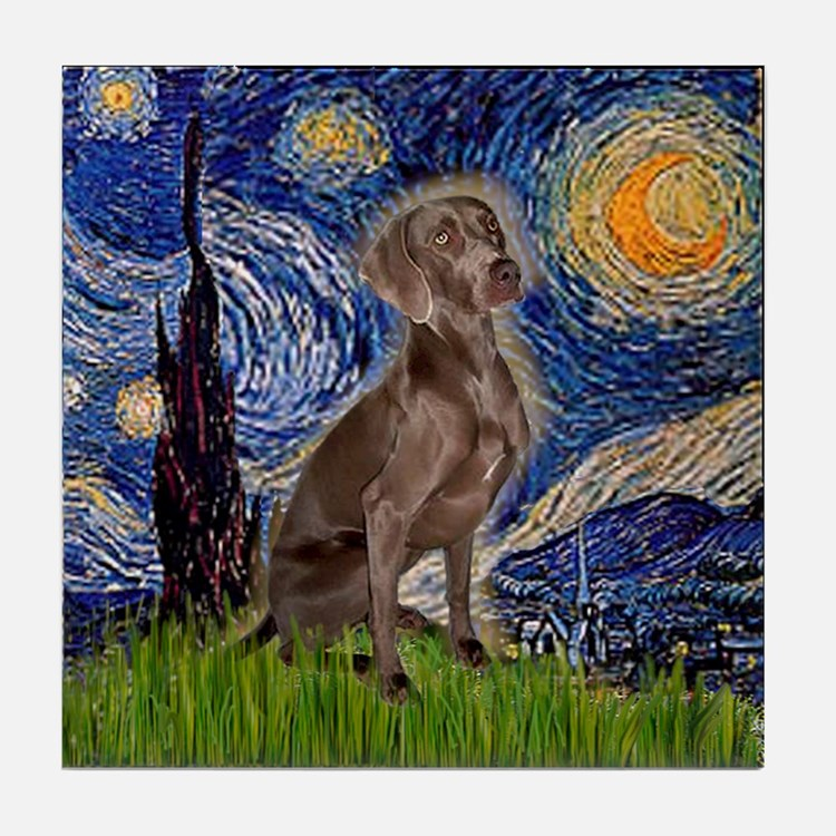 Starry / Weimaraner Tile Coaster