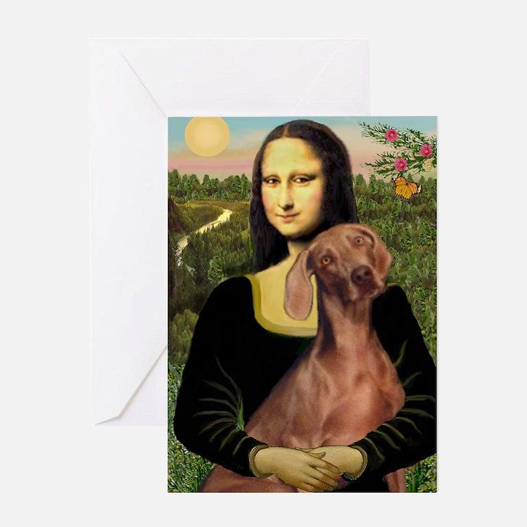 Mona Lisa / Weimaraner Greeting Card