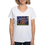 Starry / 2 Weimaraners Women's V-Neck T-Shirt