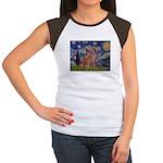 Starry / 2 Weimaraners Women's Cap Sleeve T-Shirt