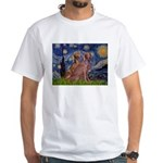 Starry / 2 Weimaraners White T-Shirt