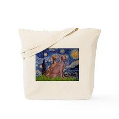 Starry / 2 Weimaraners Tote Bag