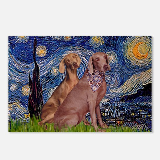 Starry / 2 Weimaraners Postcards (Package of 8)