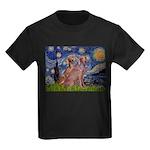 Starry / 2 Weimaraners Kids Dark T-Shirt