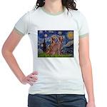 Starry / 2 Weimaraners Jr. Ringer T-Shirt