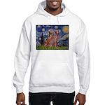 Starry / 2 Weimaraners Hooded Sweatshirt