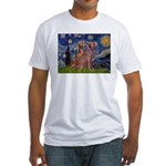 Starry / 2 Weimaraners Fitted T-Shirt