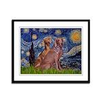 Starry / 2 Weimaraners Framed Panel Print