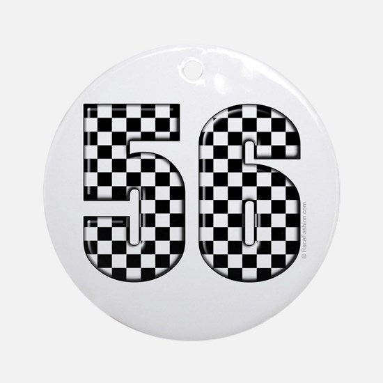 Checkered Number 56 Ornament (Round)