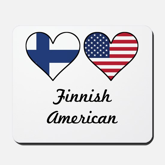Finnish American Flag Hearts Mousepad