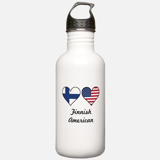 Finnish American Flag Hearts Water Bottle