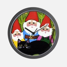 Black CAT and Garden Gnomes Wall Clock