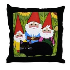 Black CAT Sunflowers Garden Gnomes Throw Pillow