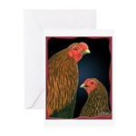 Chantecler Rooster and Hen Greeting Cards (Pk of 1