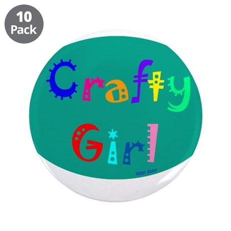 """Crafty Girl 3.5"""" Button (10 pack)"""