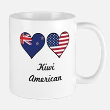 Kiwi American Flag Hearts Mugs