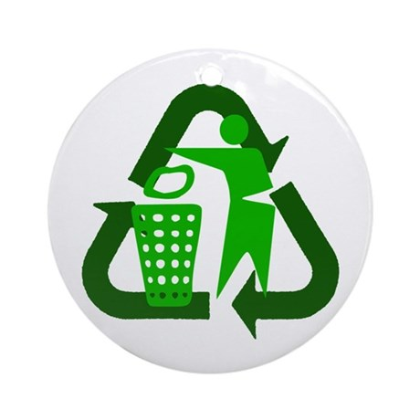 Recycle Person Ornament (Round)
