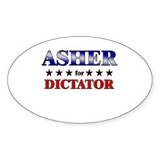 ASHER for dictator Oval Decal