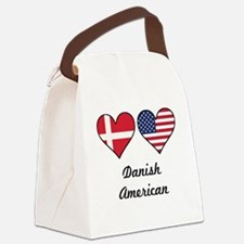 Danish American Flag Hearts Canvas Lunch Bag