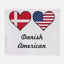 Danish American Flag Hearts Throw Blanket