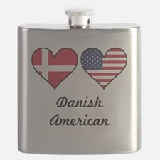 Danish American Flag Hearts Flask