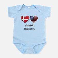 Danish American Flag Hearts Body Suit