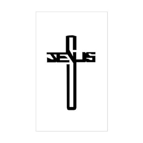 Jesus Cross Rectangle Sticker
