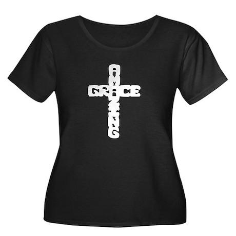 Amazing Grace Women's Plus Size Scoop Neck Dark T-
