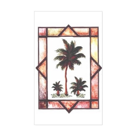 Framed Palm Tree Rectangle Sticker