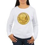 Gold Indian Head Women's Long Sleeve T-Shirt