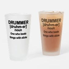 Funny Drummer Drinking Glass